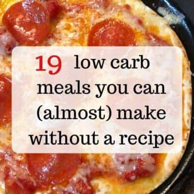 close up of low carb pizza with text