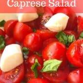 tomato caprese salad with text overlay
