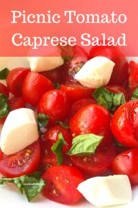 tomato caprese salad with text overlay
