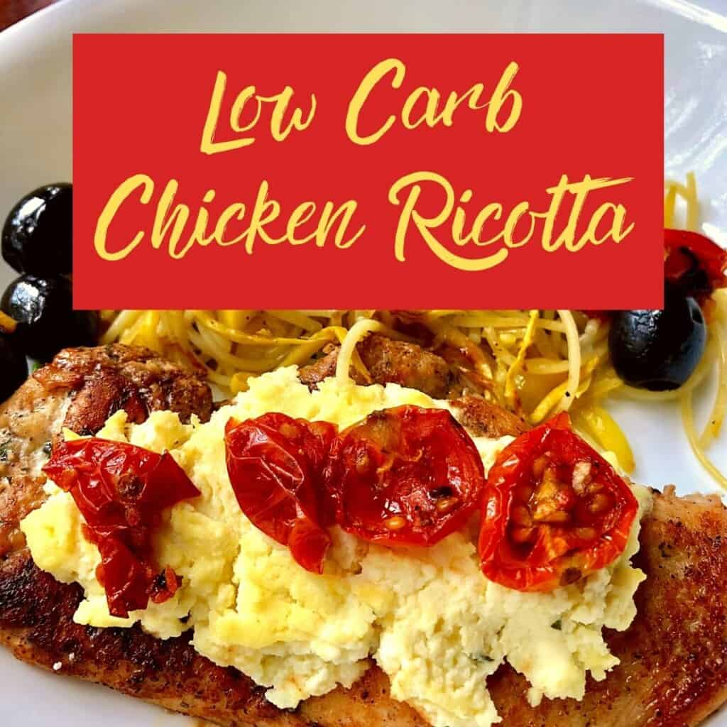 chicken breast with ricotta and tomatoes on white plate with graphic