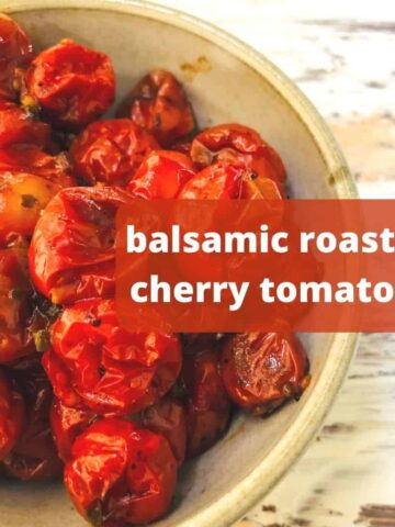 roasted tomatoes in bowl with text