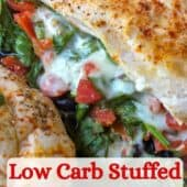 stuffed chicken breast with text