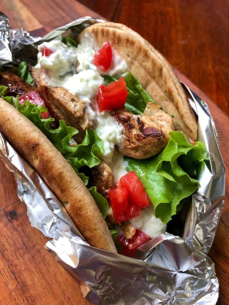 pita sandwich in foil wrap