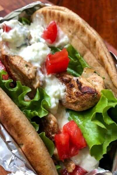 Low Carb Greek Chicken Pita Wrap