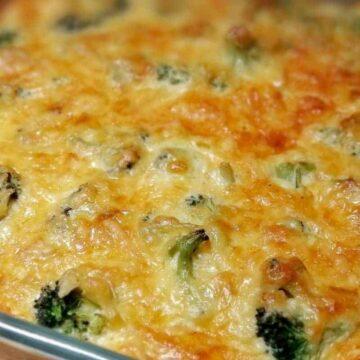 turkey broccoli casserole close up