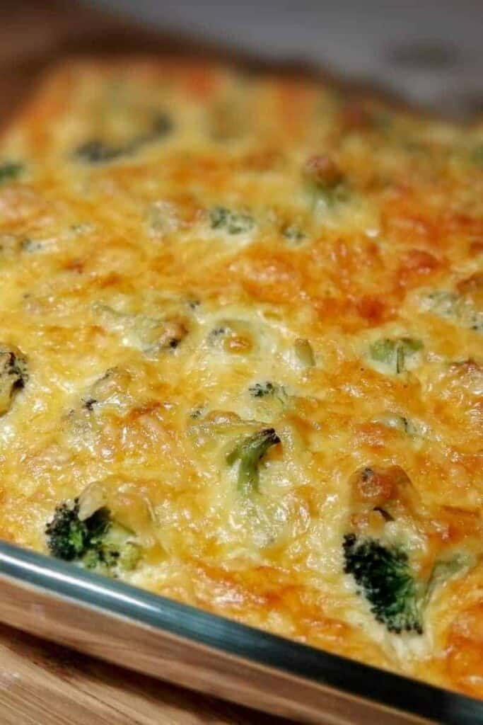 turkey broccoli casserole close up