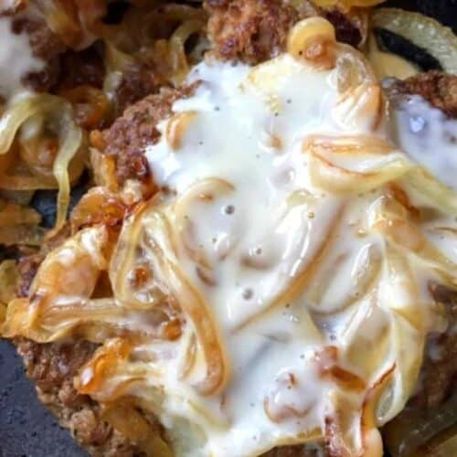 patty melt with queso cheese and onions