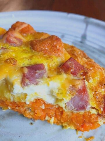 slice of sweet potato tot casserole on plate