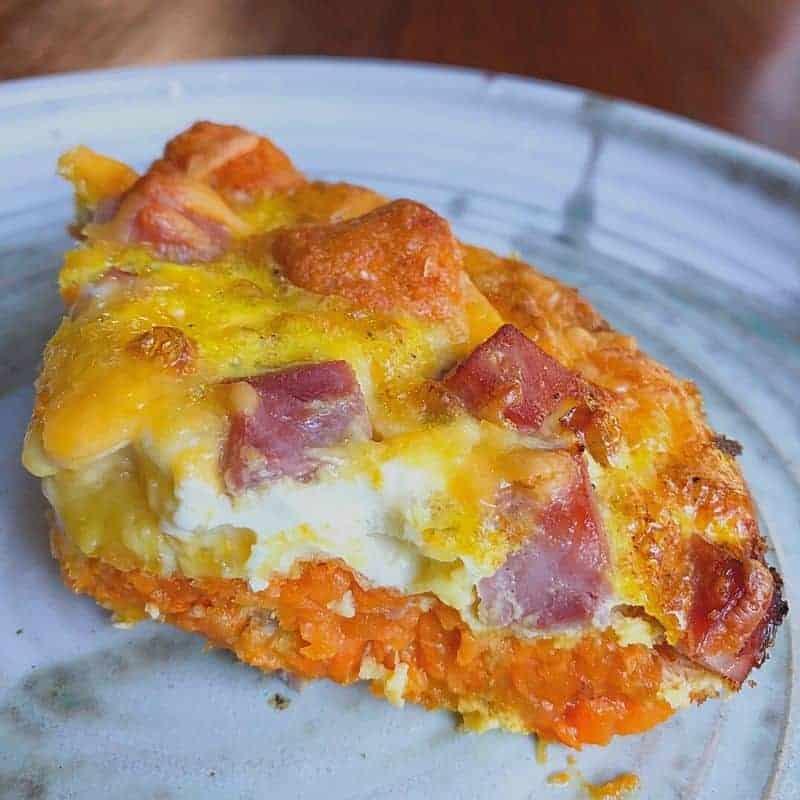 slice of sweet potato tot casserole on plate