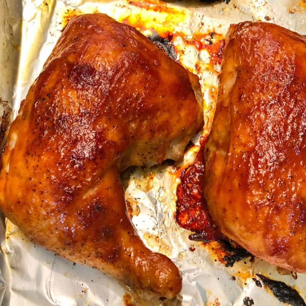 oven bbq chicken on pan