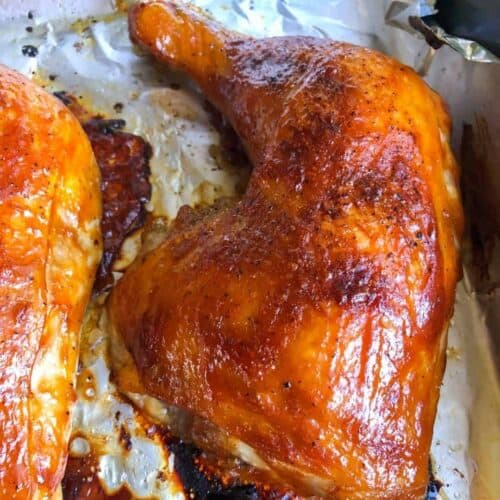 oven bbq chicken in pan