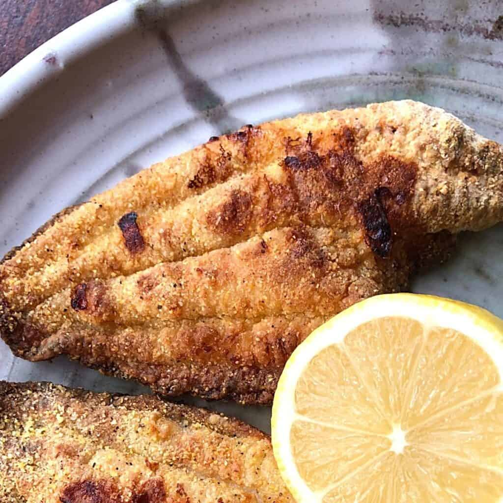 air fryer catfish on plate with lemon half