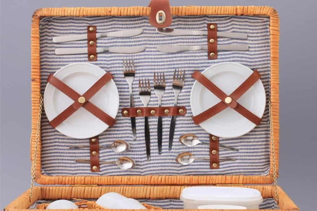 picnic basket with plates