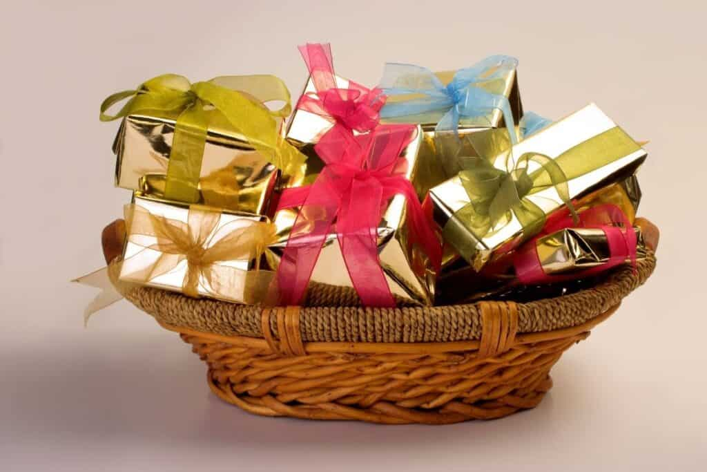 basket with wrapped gifts