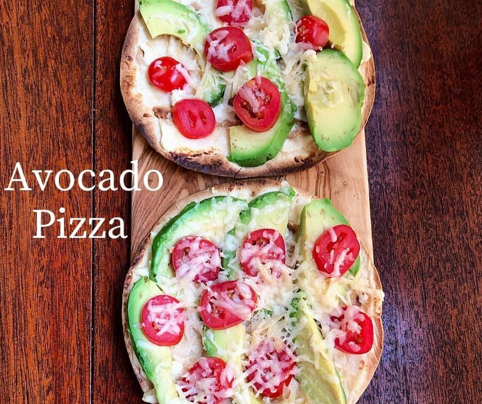 2 tortilla avocado pizza on wooden table