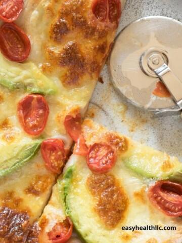 avocado tomato tortilla pizza