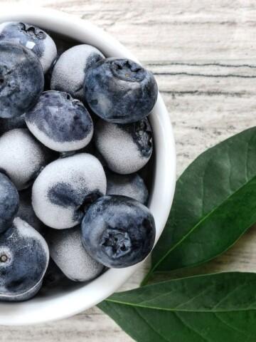 yogurt covered blueberries in bowl