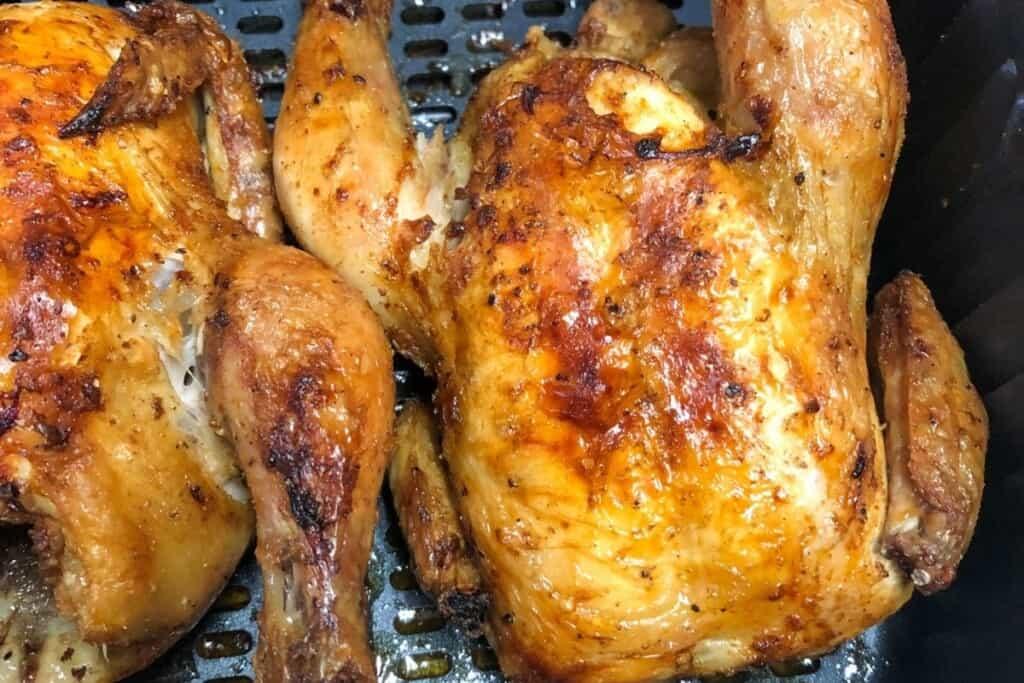 golden brown cornish hens in air fryer