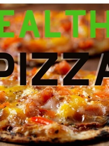 thin crust pizza on board with text healthy pizza