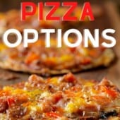 thin pizza on board with text healthy pizza options