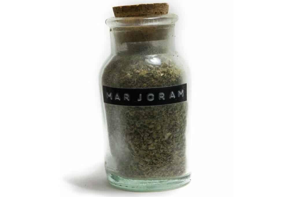 marjoram bottle with label