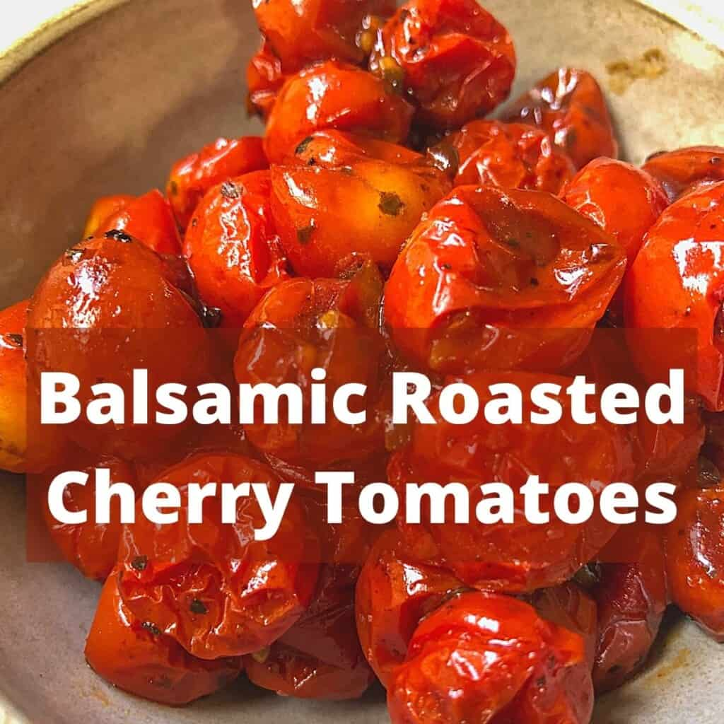 roasted cherry tomatoes in pottery bowl