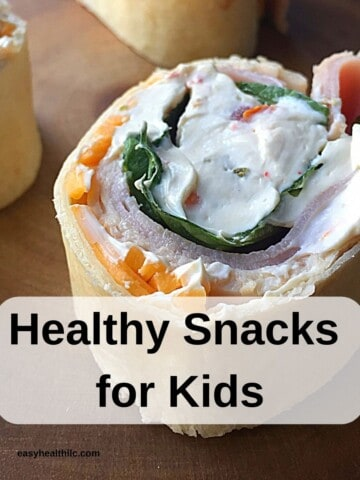 tortilla roll up with graphic healthy snacks for kids