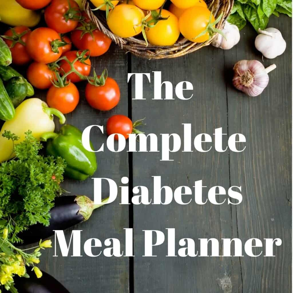book cover with tomatoes veggies and graphic complete diabetes meal planner